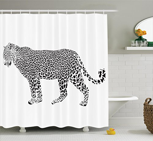 Ambesonne Safari Decor Collection, Jaguar Leopard Hunter Predator Pose Spots Camouflage Design Fashionable Design Print, Polyester Fabric Bathroom Shower Curtain, 84 Inches Extra Long, Black and White (Leopard Hunter Liners compare prices)