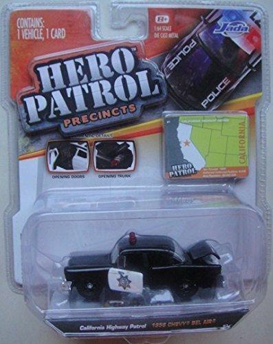 JADA HERO PATROL WAVE 7 2014 RELEASE 1:64 SCALE BLACK 1956 CALIFORNIA HIGHWAY PATROL CHEVY BEL AIR DIE-CAST - 1