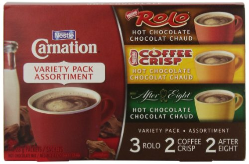 Nestle Carnation Hot Chocolate Variety Pack Rolo, Coffee Crisp, After Eight, 7-count Box, 28g Envelopes (Carnation Rolo Hot Chocolate compare prices)