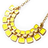 Fashionwu Ladies' Charmings Gold Plated Yellow Color Bib Bubble Collar Square Bead Statement Necklace