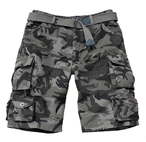 Fun Coolo Pantaloncini corti Bermuda Cargo short con tasconi laterali, con cintura mimetico XXL 54