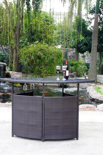 Arianna Outdoor Hand Woven Wicker Bar photo