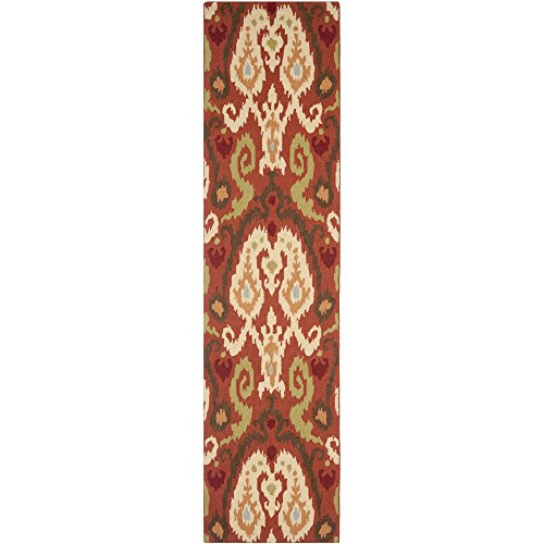 Safavieh Chelsea Collection HK382B Hand-Hooked Rust and Multi Wool Runner, 2 feet 6 inches by 10 feet (2'6