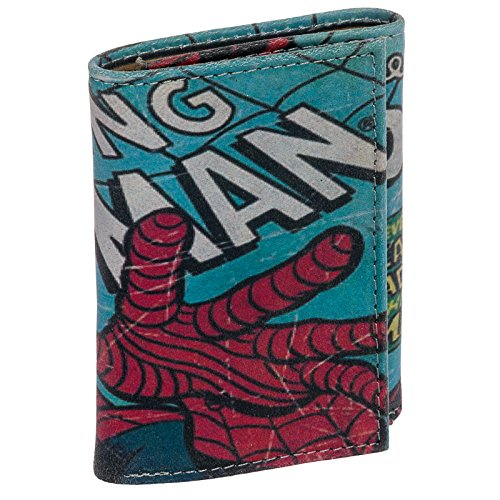 Marvel Comics Men Leather Spiderman RFID Trifold Wallet (Multi-Colored)