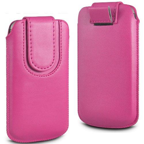 N4U Online rosa Premium-PU-Leder Pull Tab Flip Tasche für Nokia Lumia 610 mit magnetischem Verschluss Strap
