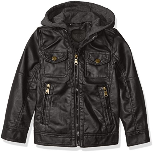 Urban Republic Boys' Big Boys' Faux Leather Jacket with Perforated Inserts and Fleece Hoodie, Black, 14/16