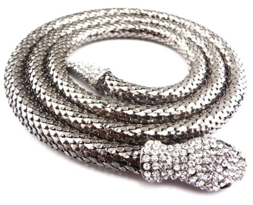 Steampunk Reptile Jewelry Chunky Long Chain Rhinestone Snake Choker Necklace(WIIPU-B138)