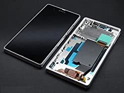 Sony Z1 Full LCD Display + Touch Digitizer Screen Replacement with frame for Sony Z1 White Color by Online For Good