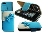 NEW STYLISH BOW BLUE FLIP SIDE WALLET CARD CASE COVER FOR APPLE I PHONE 4 4G 4S