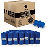Gorilla Supply 1000 Blue Dog Pet Poop Bags, EPI Technology, 50 Refill Rolls (Free Patented Dispenser)