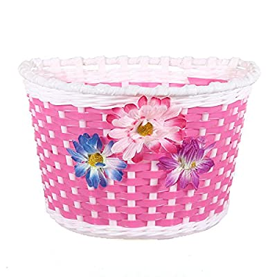 FamilyMall(TM) Bike Flowery Front Basket Bicycle Cycle Shopping Stabilizers Children Kids Girls