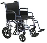 """Drive Medical Bariatric Heavy Duty Transport Wheelchair with Swing-away Footrest, Blue, 22"""""""
