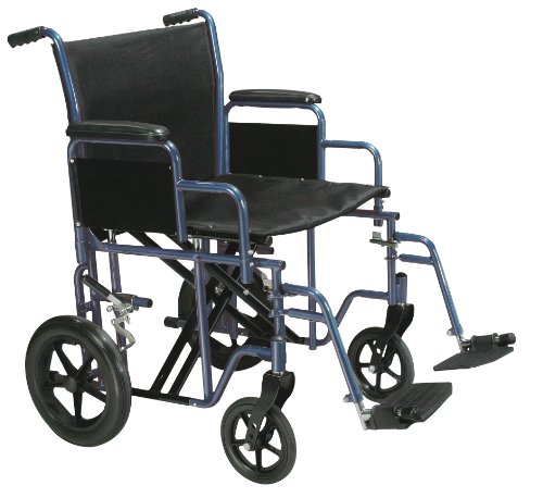 Drive Medical Bariatric Heavy Duty Transport Wheelchair with Swing-away Footrest, Blue, 22″