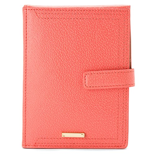 Lodis Stephanie Under Lock and Key Passport Wallet with Ticket Flap Commuter Pass Case, Coral, One Size
