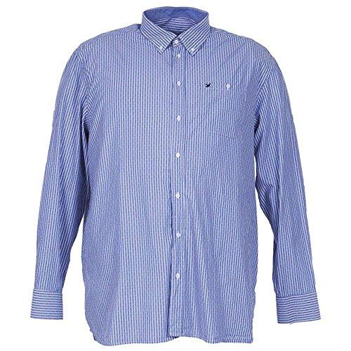 Camicia taglie forti uomo manica lunga Maxfort BOVISA a righe - Azzurro, 5XL