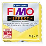 STAEDTLER FIMO Effect Transparent Yellow (104) FIMO Effect Polymer Modelling Moulding Clay Block Oven Bake Colour 56g (Pack Of 1)