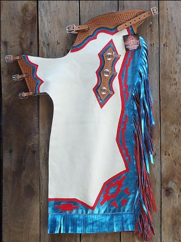 F201 Hilason Bronc Bull Riding Smooth Leather Rodeo Western Chaps White Blue Red