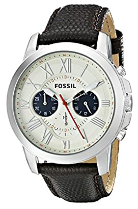 79b861294bf Fossil Men s FS5021 Grant Stainless Steel Watch with Black Leather Band