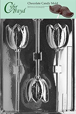 Cybrtrayd F037 Tulip Lolly Chocolate Candy Mold with Exclusive Cybrtrayd Copyrighted Chocolate Molding Instructions