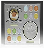 My First Year Silver Colour Baby Handprint and Photo Record Frame