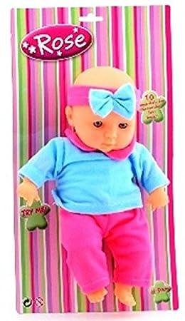 Une Poupée parlante - Baby Rose 30 cm (avec 10 sons de bébé papa, maman ect)