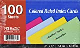 """BAZIC 100 Ct. 3"""" X 5"""" Ruled Colored Index Card"""