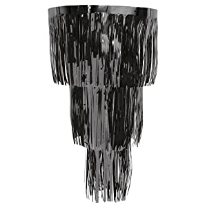 Creative Converting Glitz 3-Tier Foil Streamer Chandelier Hanging Party Decoration, Black