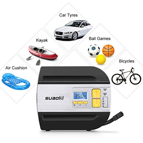Suaoki Portable Air Compressor Digital AC 12V Tire Inflator Max 100pis with 1.54ft Air Hose, 9.67ft Cord with Cigarette Plug, Flashlight and 2 Nozzle Adaptors