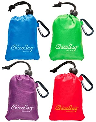 Reusable Shopping Tote / Grocery Bag by ChicoBag - 4 Pack - Assortment (1 Blue, 1 Green, 1 Purple, 1 Red)