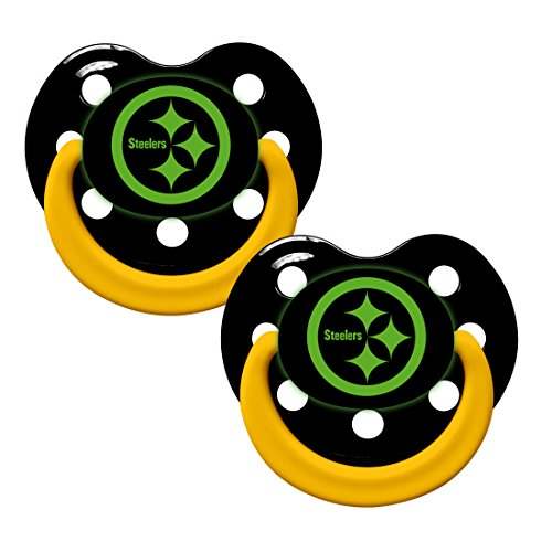 Pittsburgh Steelers Glow In Dark 2-Pack Baby Pacifier Set - Nfl Infant Pacifiers front-1087183