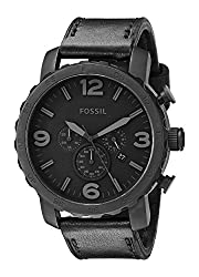 Fossil Men's JR1354 Nate Stainless Steel Chronograph Watch with Black Leather Band from Fossil