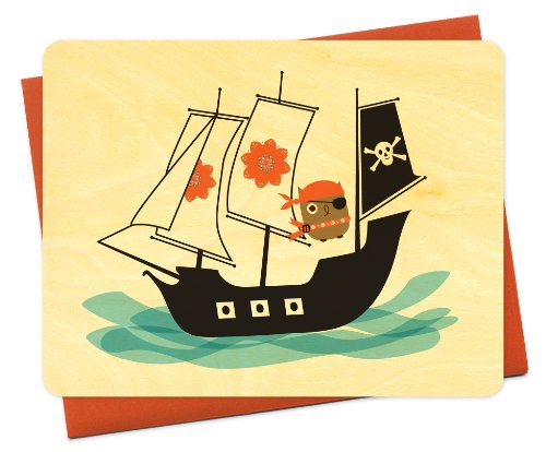 Penelope gufo pirata legno Notecard by night owl carta merci