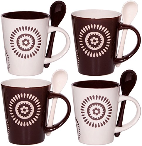 Cafe Style 10 Oz Coffee Mug And Spoon, (Set Of 4), Brown, White,