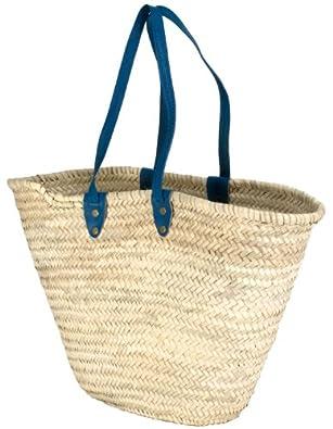 "Moroccan Straw Market Shoulder Bag w/Blue Leather Straps - 21""Lx14""H - Palma"