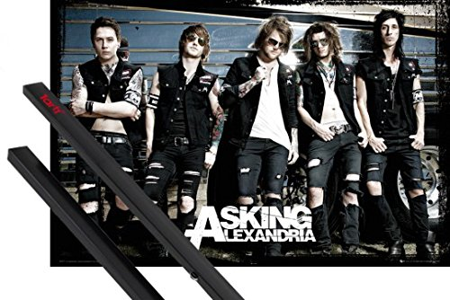 Poster + Sospensione : Asking Alexandria Poster Stampa (91x61 cm) Reckless And Relentless, Bus E Coppia Di Barre Porta Poster Nere 1art1®