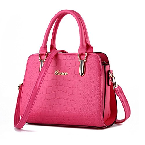 Ryse Womens Fashionable Classic Retro Simple Exquisite Handbag Shoulder Bag(RoseRed)