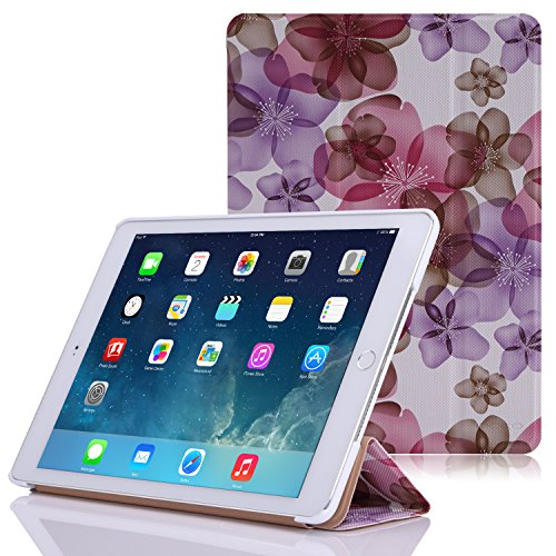 Apple iPad Air 2 Case - MoKo Ultra Slim Lightweight Smart-shell Stand Cover Case for Apple iPad Air 2 (iPad 6) 9.7 Inch iOS 8 Tablet, Floral PURPLE (with Smart Cover Auto Sleep / wake)