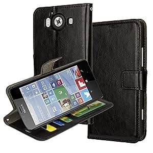 Nokia 950 Case,Microsoft Nokia Lumia 950 Wallet Leather Case Aomax Wallet Card Slot View Stand Premium Protective Leather Cover Case For Microsoft Nokia Lumia 950 (R64 Black)