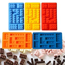 Bulk Set of 5 Silicone Brick Candy, Crayon or Ice Molds
