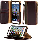 """iPhone 6 Plus case, ACEABOVE [Stand Feature] iPhone 6 Plus 5.5"""" Wallet Case **NEW** [Book Cover Case] - Premium Genuine Leather Wallet Cover with STAND Flip Cover and [Card Slots] and [Hand Strap] for Apple iPhone 6 Plus 5.5 Inch Late 2014 Model (Dark Brown)"""