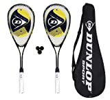 2 x Dunlop Biotec Titanium Squash Racket Set + 3 Squash Balls and Cover RRP £90