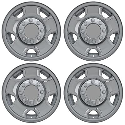 Set of 4 Chrome Wheel Skin Hub Covers With Center For 17x7 Inch 8 Lug Steel Rim - Part Number: IWCIMP/74X