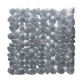 Duscheinlage Duschmatte 53cm x 53cm in grau Steinoptik Kieseldekor Steine transparent