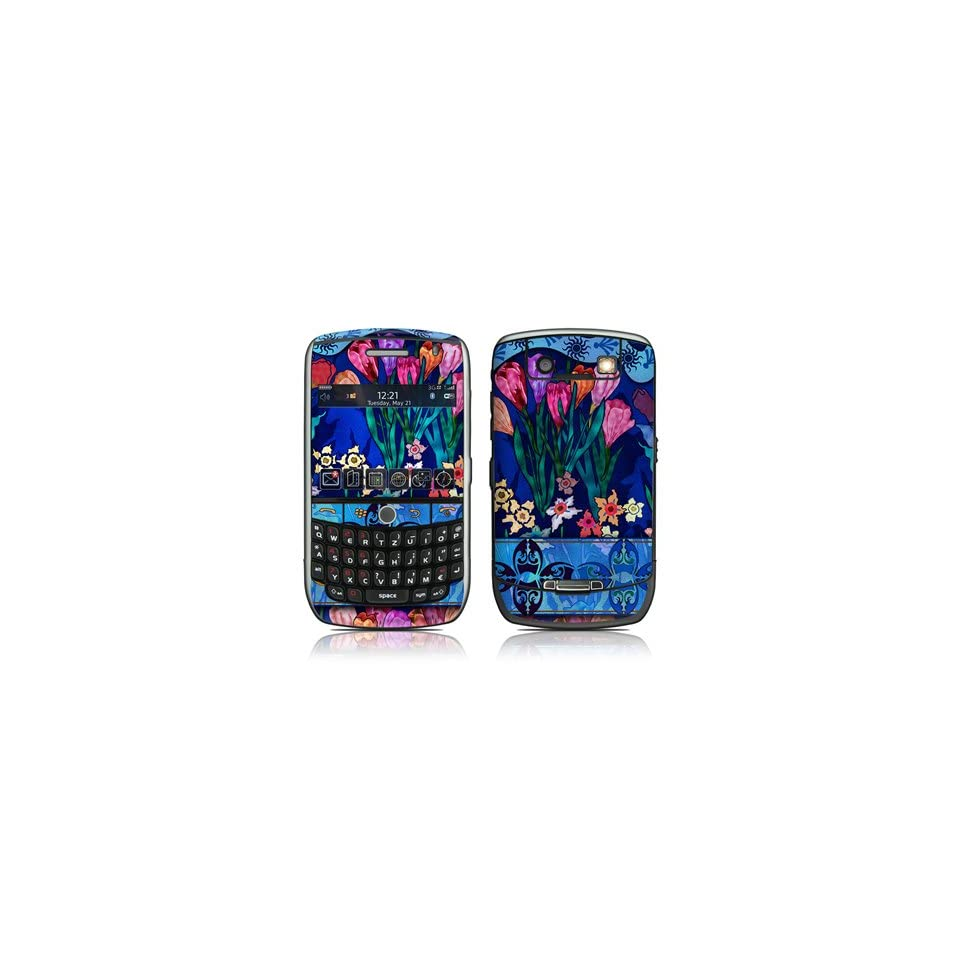 Silk Flowers Design Protective Decal Skin Sticker for Blackberry Curve 8900 Cell Phones