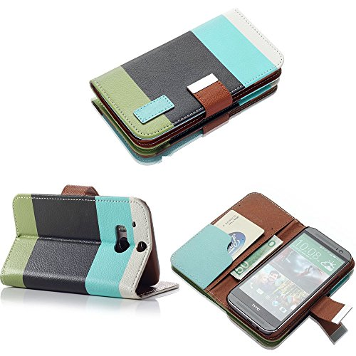 Mylife Dark Black + Electric Blue And Army Green Stripes {Modern Design} Faux Leather (Card, Cash And Id Holder + Magnetic Closing) Slim Wallet For The All-New Htc One M8 Android Smartphone - Aka, 2Nd Gen Htc One (External Textured Synthetic Leather With
