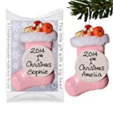 Personalised Christmas Decoration, First Xmas Bauble, My 1st Christmas Stocking, Baby PINK by Truly for You