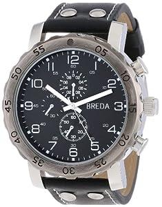 Breda Men's 1635-F Steve Oversized Industrial Stud Leather Watch