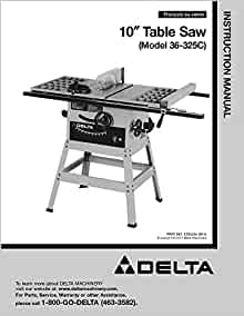 Delta 36 325c 10 table saw instruction manual misc for 10 delta table saw price