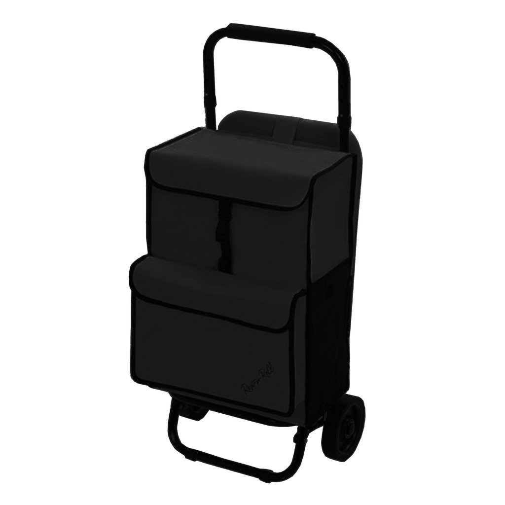 Rest-n-roll Deluxe Multipurpose Utility Grocery Cart Folding on Wheels with Built-in Seat (All Black)