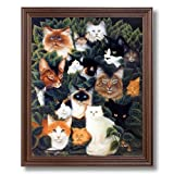 Cat Collage Kitty And Kitten Kids Room Home Decor Wall Picture Cherry Framed Art Print